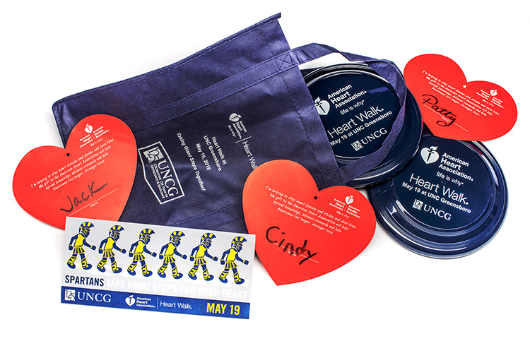 photo of Swag items for UNCG sponsorship for Heart Walk