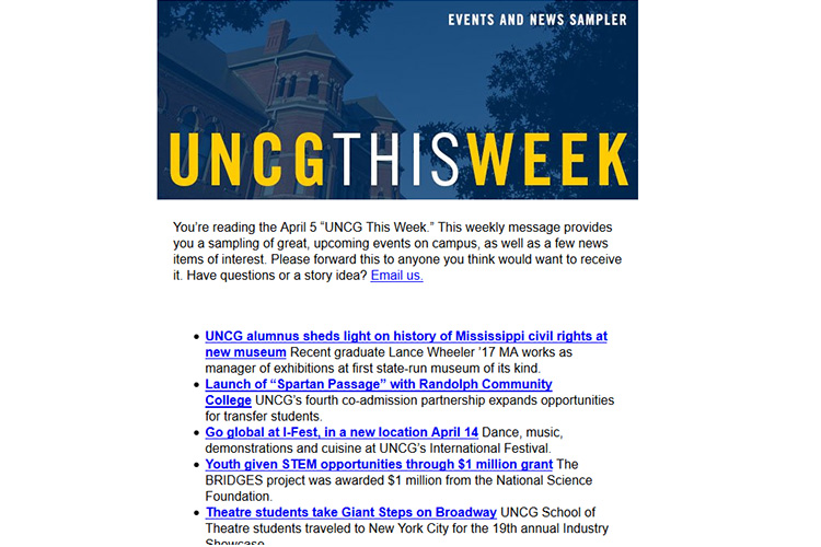 screen capture image of UNCG This Week email