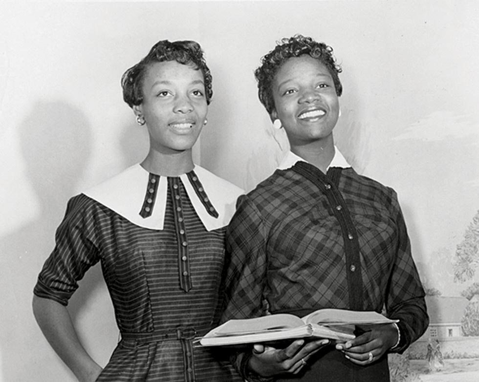 JoAnne Smart Drane '60 and Bettye Ann Davis Tillman '60 (l-r) were the first two African American students at WC