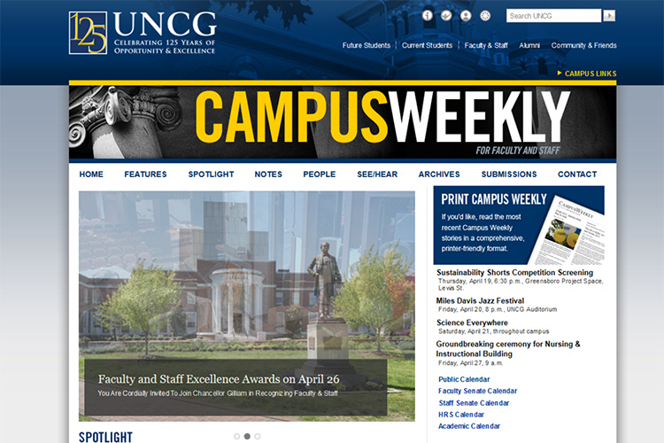 screen capture image of Campus Weekly website
