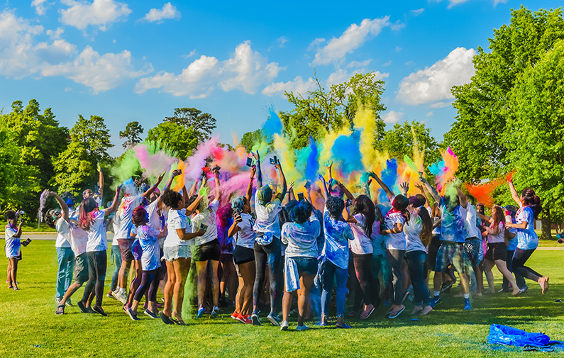 Photo of students participating in Spring Fling event Holi - Festival of Colors