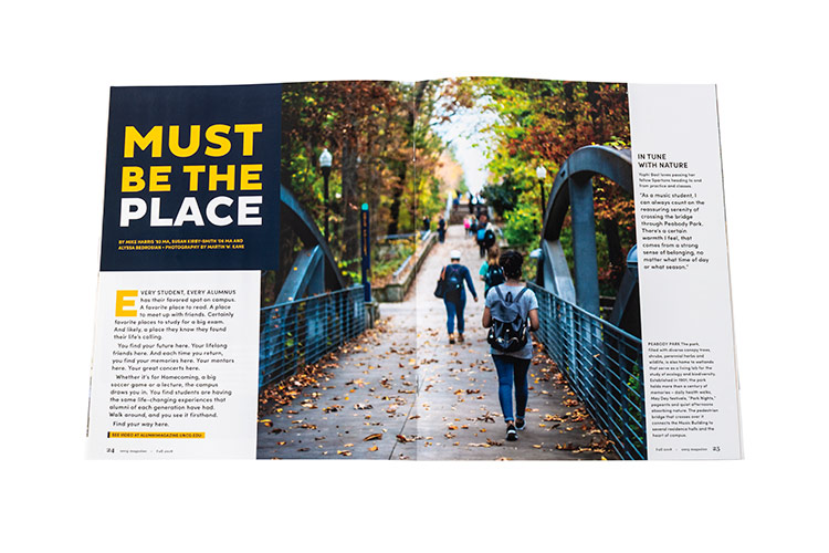 photo of fall 2018 UNCG Magazine spread for article