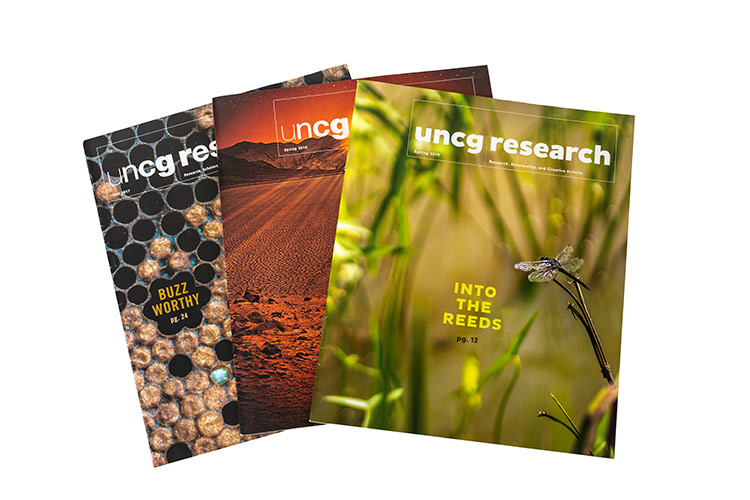photo of three Research Magazine covers