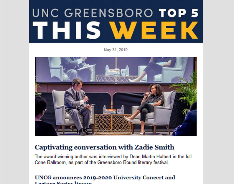 UNCG Top 5 e-Newsletter