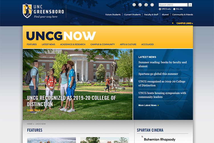 UNCG News and Features site homepage