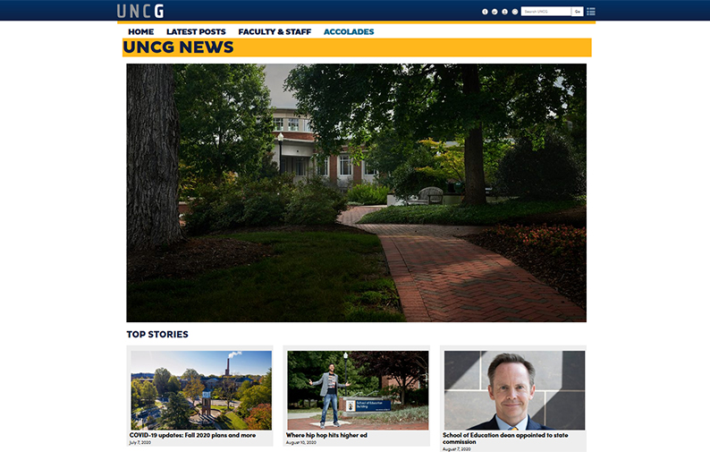 screen capture image of UNCG News website