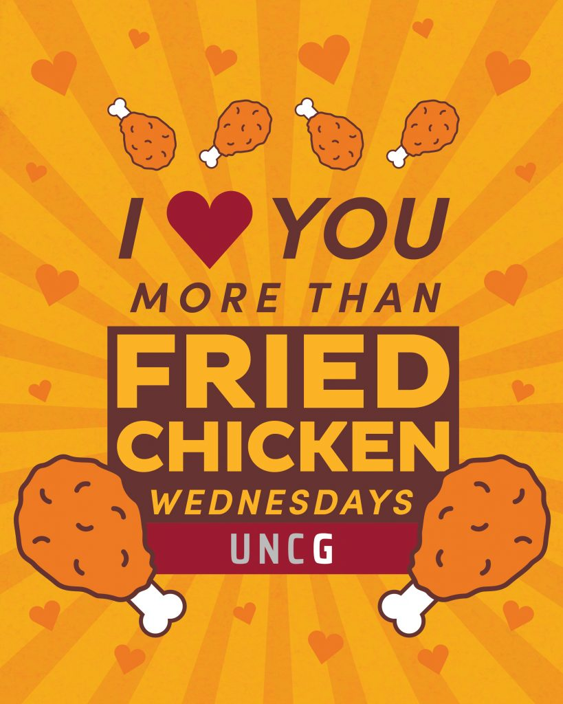 Valentine's E-Greeting image - I 'heart' you more than Fried Chicken Wednesdays. UNCG