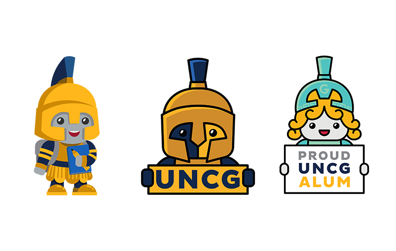 Design Images: Moss Street Partnership School mascot, Kid Spartan, and UNCG Cartoon Characters, Young Spiro and Minnie (left to right)