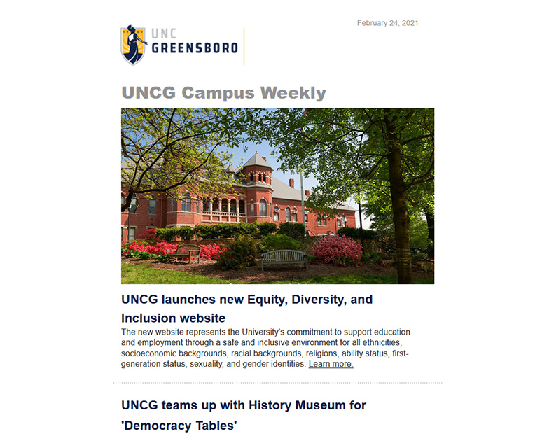 UNCG Campus Weekly e-newsletter screen capture image