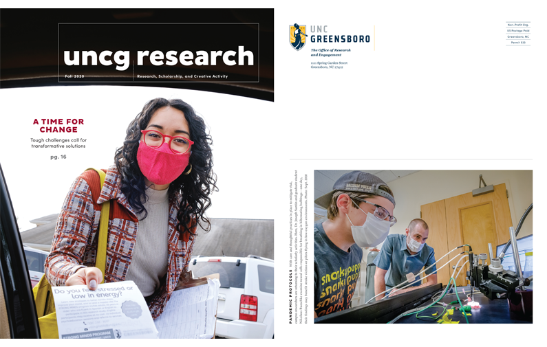 Image of Fall 2020 issue of the UNCG Research Magazine, front and back covers