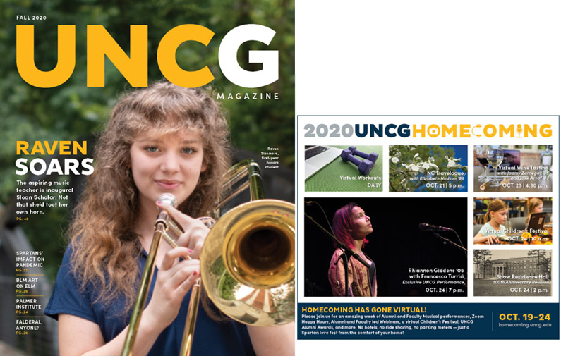 Image of Fall 2020 issue of UNCG Magazine, front and back covers